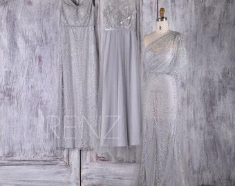 2017 Sequin Mix Match Bridesmaid Dress, Luxury Gray Wedding Dress, See Through Prom Dress Long, Metallic Sparkle (JQ182/HW317/JQ185)