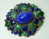 1970s Couture Brooch Arnold Scaasi Blue Green Peking Glass Rhinestones Easter Egg Stones