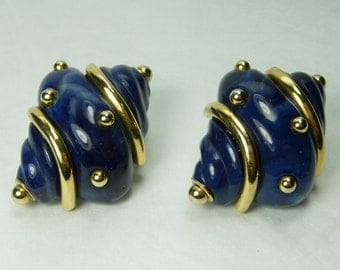 C 1990 Kenneth Lane KJL Shell Form Earrings Blue Marbled Resin Goldtone Couture