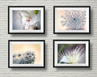Pastel flower photography set, flower prints, botanical art, pink, purple, nature photography, spring decor, floral photography, horizontal