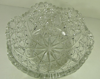 Vintage ABP BOWL Hobstar, Cane, Hobnail, Star Pattern w/ Scalloped & Sawtooth Rim American Brilliant