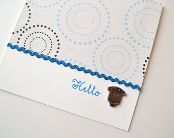Baby Boy - Baby Shower Card - Welcome Baby Card- Congratulations - Hello Baby