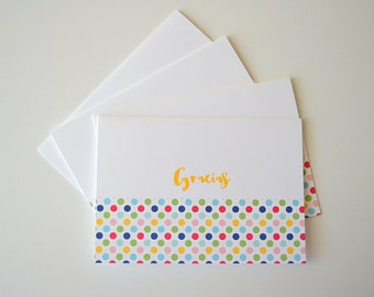 Spanish Note Cards - Set of 4 - Thank You Cards - Gracias (Thank You)