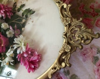 Victorian, shabby chic wall art, Baroque glass frame, Roses, flowers, lace