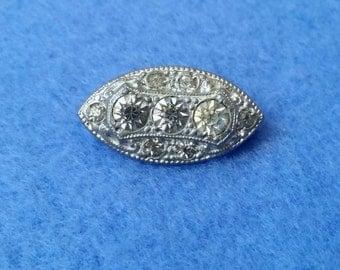 Vintage Eye Shaped Rhinestone Brooch Pin, small costume jewelry