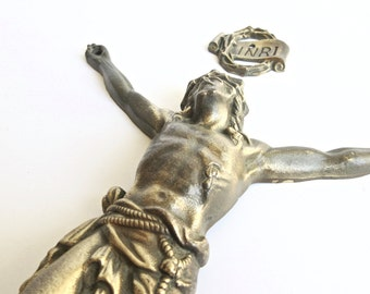Large French Jesus Figure Brass - made in France - Brass Jesus