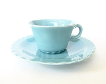 4 Turquoise Cups and Saucers - Coronado - Early California Pottery - Set of 4