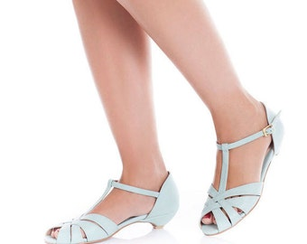 Bridal sandals / wedding day sandals / chic vegan sandals / beautiful low heel shoes / light blue sandals / well designed & comfortable