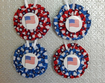 Patriotic Flag Yo Yo Ornament - 4 Piece Set