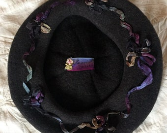 Oooh la la.  Rich charcoal brown  Basque French Beret with ribbons and crystals
