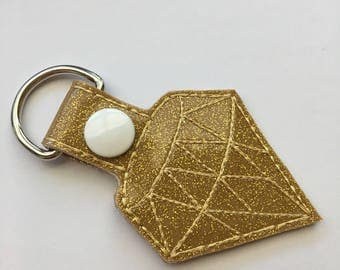 Jewel KeyChain, Snap Tab Key Fob in Gold