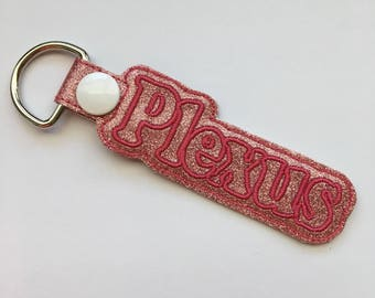 Plexus KeyChain, Snap Tab Pink on Pink Glitter Canvas