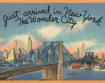 Just Arrived in New York City - 10x16 Giclée Canvas Print of a Vintage Postcard