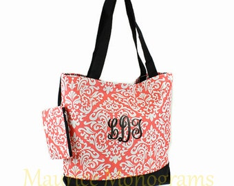 Personalized Tote Bag - Damask Coral Totebag with Black Trim- Great Dance or Overnight bag, Includes Monogram