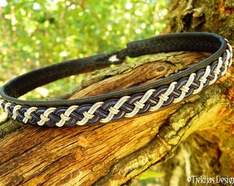 Viking Leather Necklace NIFLHEIM Custom Handmade Black and Blue Sami Choker with Black Copper and Pewter Braid