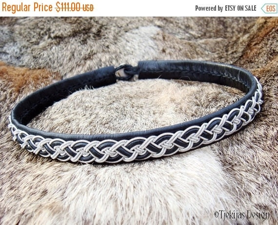 NIFLHEIM Black Reindeer Leather Tin Thread Braid Sami Viking Necklace Collar Choker with Antler button Custom Handcrafted Nordic Elegance