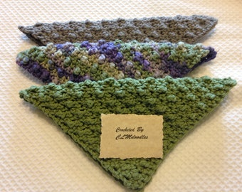 "Set of 3 ""Bumpy"" Crocheted 100% Cotton Dishcloths or Washcloths"