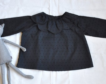 Black Dotted Swiss Petal Collared Toddler Tunic Size 2