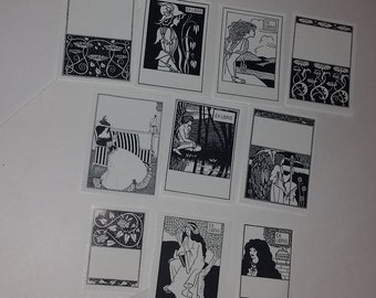 10 vintage Art Nouveau unused book plates black and white lot name labels paper art supplies