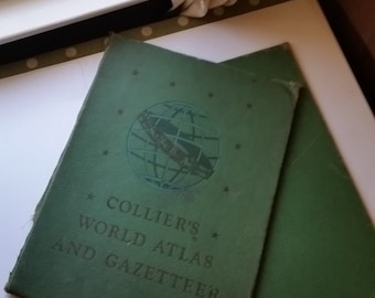 Large Collier's Atlas book boards green covers globe illustration Vintage mixed media paper art supplies