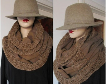 Wool scarf, Brown Scarf, Striped Scarf, Winter Scarf, tube scarf, woman scarf,men scarf, infinity scarf, unisex scarf, man  infinity scarf,