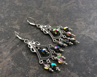Sparkly  Chandelier earrings  with Faceted Czech glass and Sterling silver leverbacks Medium Vitrail rainbow sparkle beads