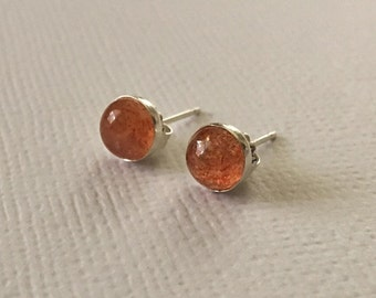 Sunstone Stud Earrings in Sterling Silver -Silver Sunstone Post Earrings
