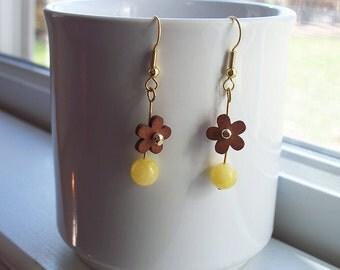 Yellow Earrings Daisy Wood Gold Earrings in Gold