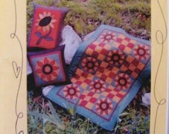 Quilt Pattern, Pieced Patchwork and Applique Pattern, Sun Flower Quilt, Tablerunner, Pillows, Bloomin Minds, Our Garden Grows