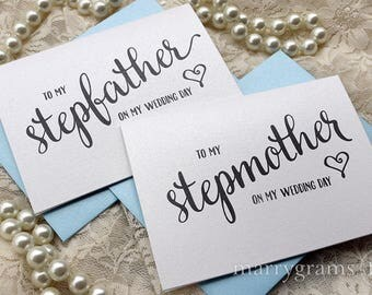 Wedding Thank You Card to Stepmother or Stepfather Step-parents of the Bride or Groom Cards, Mother Father on My Wedding Day Heart Card CS15