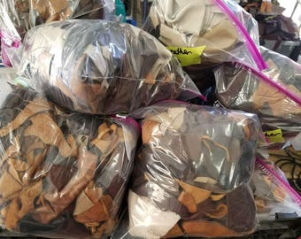 2 LB bag | Assorted Tan & Brown Leather Scrap | Laser Cut | Leather Remnants | Leathercraft | DIY | Great 4 Small Handcraft Projects!