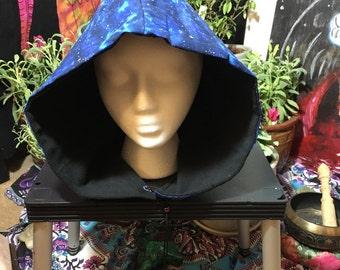 boho/gypsy/festival/burning man hood/hat/skull blue skies sack with fleece for warmth