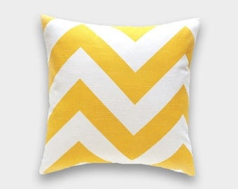 CLEARANCE 50% OFF Corn Yellow Zippy Pillow Cover. Chevron Pillow. 14x14 Inches. Yellow Throw Pillow. Yellow and White