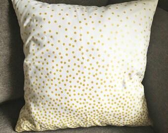 Metallic Gold Dots Confetti Decorative Throw Pillow Cover. 16x16, 18x18, or 20x20 Inches. Polka Dots Cushion Cover.