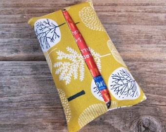 Kleenex travel tissue case in yellow and brown tree  fabric , pocket tissue holder, travel tissue, kleenex case in yellow, small gift