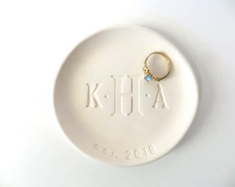 Ring dish, ring holder, Wedding Gift, Engagement Gift, Monogram dish, Trinket dish, White Pottery, Mother's Day Gift, Father's Day Gift