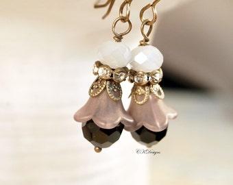 Black Lucite Flower Earrings,  Victorian Style Dangle Earrings,  Vintage Style Beaded Pierced or Clip-on Earrings. OOAK Handmade Earrings.