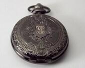 Personalized Black Pocket Watch Custom Engraved Fancy Crest Quartz  - Hand Engraved