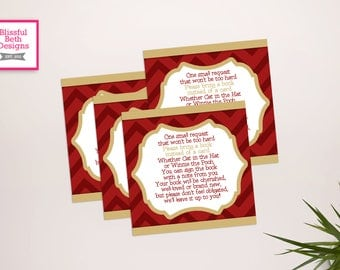 Garnet and Gold Book Insert, Printable Baby Shower Book Card, Book Insert, Instant Download, Garnet and Gold