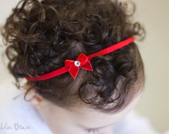 Little Red Velvet Bow - Red Velvet Bow - Little Red Velvet Bow Handmade Baby Headband - Baby to Adult Headband