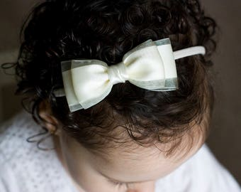 Amelia Satin and Organza Bow Clip OR Headband, Flower Girl Headband, Baby Bow, Girls Bow, Bun Hair Bow, Baby to Adult Headband