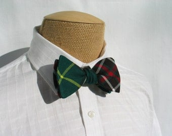 Self Tie Bow Tie and Cuff Links, Newfoundland Tartan Bow Tie, Green Plaid Cuff Links, Green Plaid Tie Cuff Links, Newfoundland Pocket Square