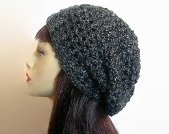 Gray Slouchy Hat Black Tweed Hat Gray Slouchy hat crochet charcoal hat slouch Beanie Knit Slouch Beret Crochet Slouch Hat Tweed Slouchy Cap