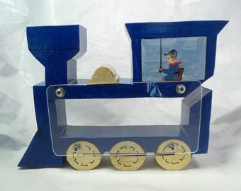 Train Engine With Engineer Wooden Coin Bank - Personalized Free