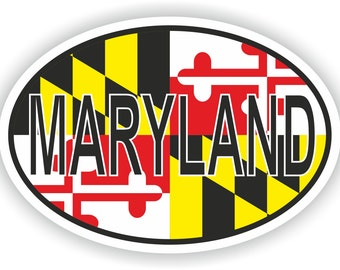 Maryland USA Country Code Oval Sticker with Flag for Bumper Laptop Book Fridge Helmet ToolBox Door PC Hard Hat Tool Box Locker Truck