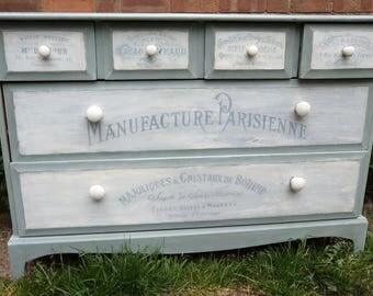 Bespoke wooden chest of drawers with hand painted vintage French typography