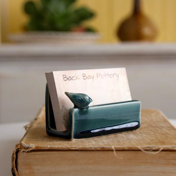 Business Card Holder - Blue Bird Ceramic - 16 Custom Color Choices - Modern Office Decor - MADE TO ORDER