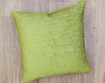 SQAURE Lime Green cushion cover, chenille velvet fabric pillow sham in NINA CAMPBELL fabric from Osborne and Little, designer fabric sham.