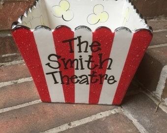 Personalized Large Square Popcorn Bowl