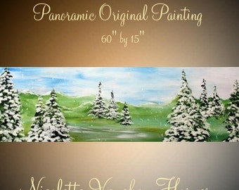 SALE ORIGINAL abstract painting ,Panoramic Fir Trees,  woodlands snow scene,wall art canvas by Nicolette Vaughan Horner